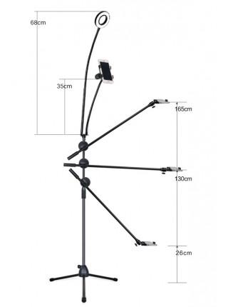 Штатив напольный для съемки сверху MS-1T с кольцевой лампой и держателем телефона