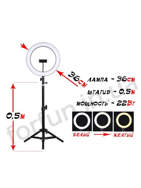 Кольцевая лампа Fun Ring 36 на штативе (0.5м)