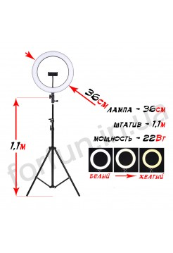 Кольцевая лампа Fun Ring 36 на штативе (1.1м)