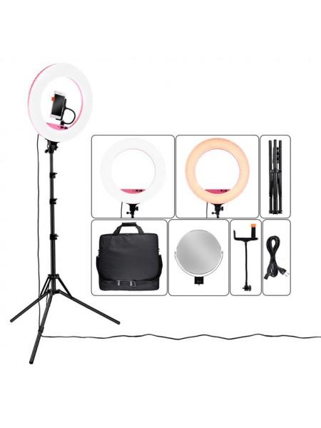 Кольцевая лампа для блогера, визажиста, фотографа LF-R480 с зеркалом