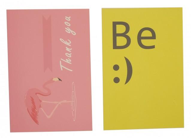 """Открытка для флетлей 10х15см (фламинго + надпись """"Be :)"""")"""