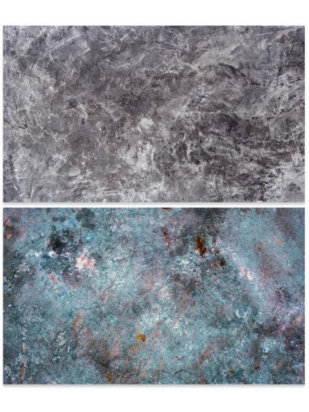 Двусторонний фотофон 57*87 см. Черно-белый бетон + разноцветный бетон с разводами
