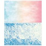 Двусторонний фотофон 57*87 см. Сине-белая мозаика + размытый цветной фон