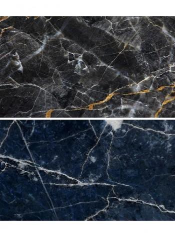 Двусторонний виниловый фотофон 57*87см (300г/м² ) синий мрамор + черный мрамор с золотыми вкраплениями