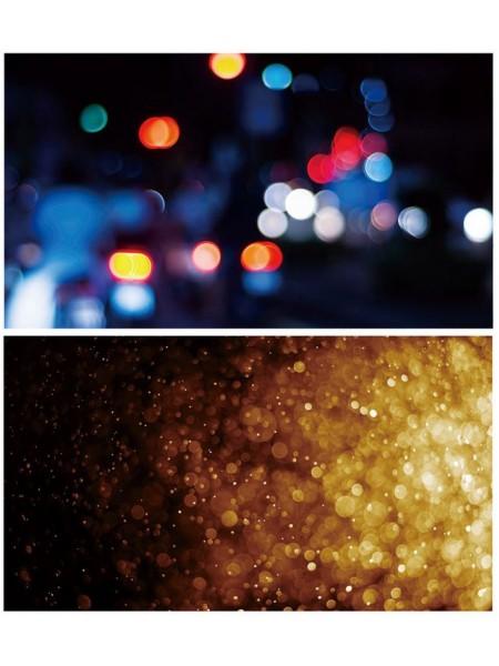 Двусторонний фотофон 57*87 см. Размытые цветные шары + расфокусированные огни