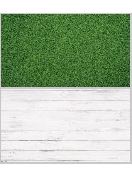 Двусторонний фотофон 57*87 см. Белые доски + зеленая газонная трава