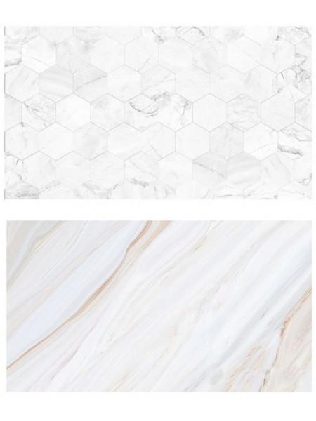 Двусторонний фотофон 57*87 см. Соты белого мрамора + белый мрамор