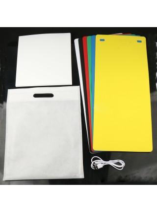 Фотобокс с подсветкой, 24 см, 6 фонов, 2 Led ленты (лайтбокс, фотокуб, lightbox, портативная мини фотостудия, лайткуб)
