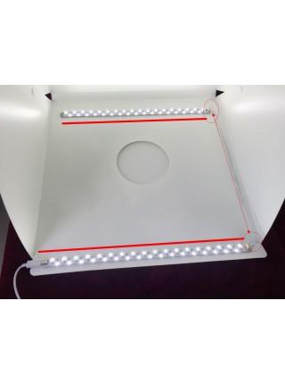 Фотобокс с подсветкой, 40 см, 4 фона, 2 LED ленты