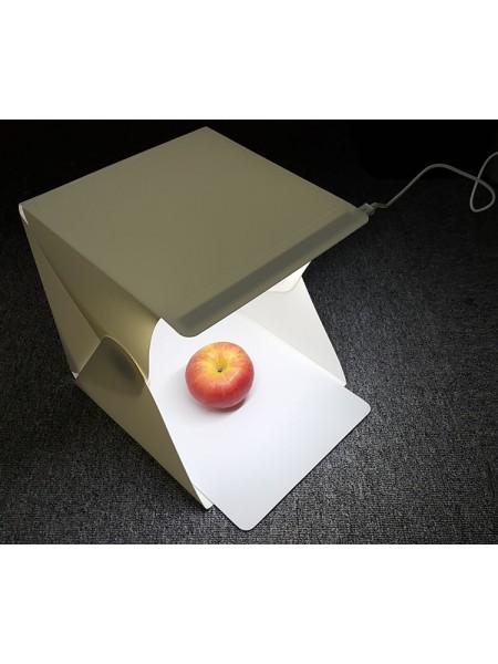 Фотобокс с подсветкой 24 см, 2 фона. (лайтбокс, фотокуб, lightbox, портативная мини фотостудия, лайткуб)