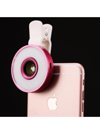 Mx-601 Набор линз Фишай, макро с LED подсветкой (selfie ring) для телефона, IPhone