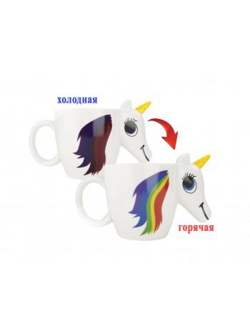 Термочувствительная чашка единорог (кружка-хамелеон, меняющая цвет) Unicorn mug