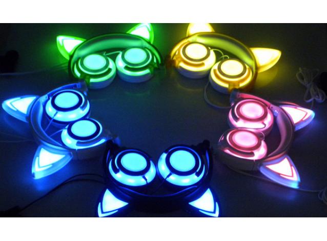 full-LED кошачьи наушники (светятся наушники и ушки)